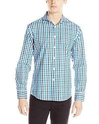 Vince Camuto Plaid Spread Collar Long Sleeve Button Down Shirt