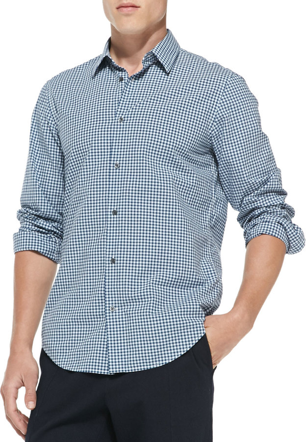 Vince Gingham Check Button Down Shirt Blue Where To Buy