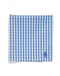 White and Blue Gingham Pocket Square