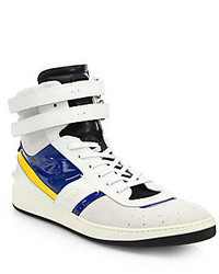 White and Blue High Top Sneakers