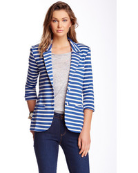 White and Blue Horizontal Striped Blazer