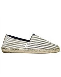 White and Blue Horizontal Striped Canvas Espadrilles