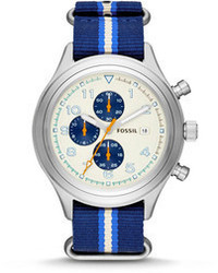 Fossil Compass Chronograph Nylon Watch Striped