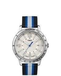 Timex T2n754 Weekender Sport Black Gray Blue Nylon Strap Watch