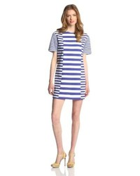 White and Blue Horizontal Striped Casual Dress