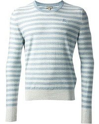White and Blue Horizontal Striped Crew-neck Sweater