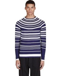 Neil Barrett Navy White Striped Sweater