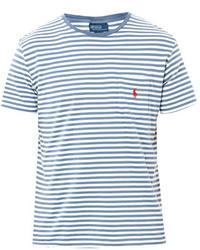 f9b4020fdd White and Blue Horizontal Striped Crew-neck T-shirts for Men | Men's ...