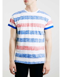 Topman Blue Red And White Stripe T Shirt