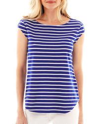 Liz Claiborne Cap Sleeve Striped Button Shoulder Tee
