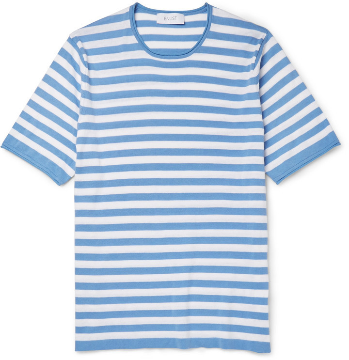 Enlist Striped Knitted Cotton T Shirt