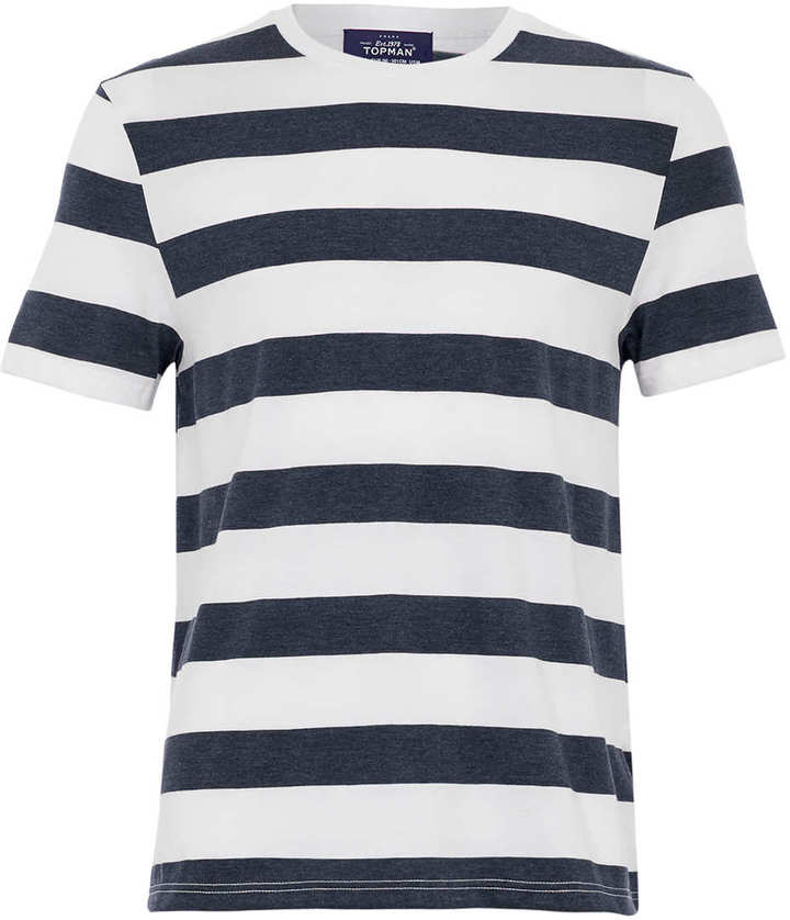 Topman Navy And White Stripe T Shirt | Where to buy & how to wear