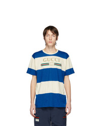 Gucci Off White And Blue Vintage Logo T Shirt