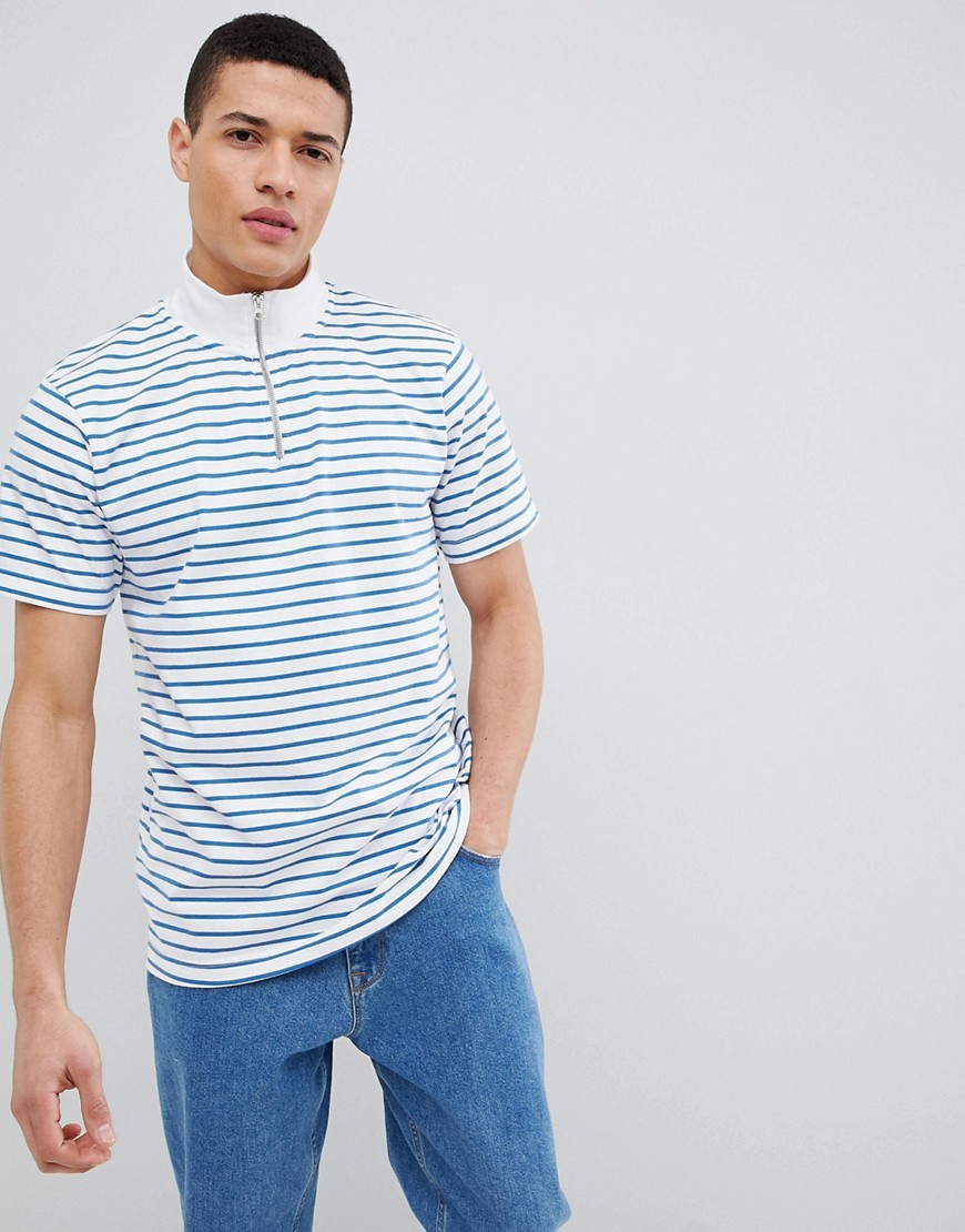 Stradivarius Stripe Quarter Zip Sweatshirt In White