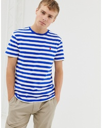 Polo Ralph Lauren Stripe T Shirt With Icon Logo In Bluewhite