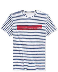 8144f613 Men's White and Blue Horizontal Striped Crew-neck T-shirts by Tommy ...