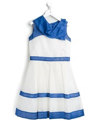 White and Blue Horizontal Striped Dress