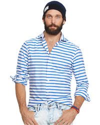Mens blue striped dress shirt best gowns and dresses for Horizontal striped dress shirts men