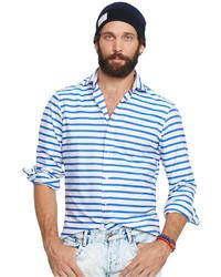 White and Blue Horizontal Striped Dress Shirt