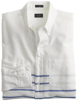 J crew vintage oxford shirt in horizontal stripe where for Horizontal striped dress shirts men