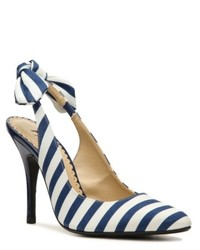White and Blue Horizontal Striped Leather Pumps