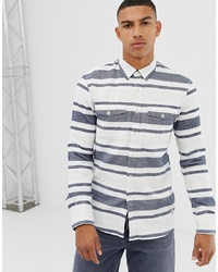 White and Blue Horizontal Striped Long Sleeve Shirt