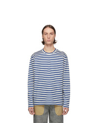 White and Blue Horizontal Striped Long Sleeve T-Shirt