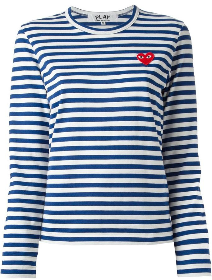 Comme des garcons comme des garons play striped t shirt for Blue and white striped long sleeve t shirt