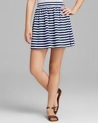 White and Blue Horizontal Striped Mini Skirt