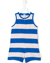 White and Blue Horizontal Striped Overalls