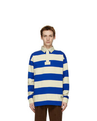Gucci Blue And Beige Striped Long Sleeve Polo