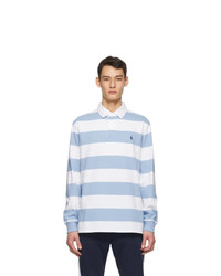 Polo Ralph Lauren White And Blue The Iconic Rugby Long Sleeve Polo