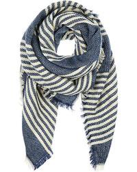 White and Blue Horizontal Striped Shawl