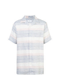 White and Blue Horizontal Striped Short Sleeve Shirt