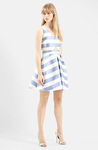 4e97ce8ae1 ... Topshop Stripe V Neck Cutout Dress ...