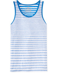 White and Blue Horizontal Striped Tank