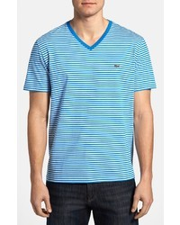 White and Blue Horizontal Striped V-neck T-shirt