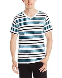 98261c8a71cd White and Blue Horizontal Striped V-neck T-shirts for Men | Men's ...