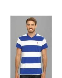 Wide Striped V Neck T Shirt T Shirt
