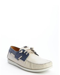 White and blue leather moc toe harry boat shoes medium 290714