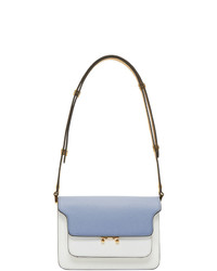 White and Blue Leather Crossbody Bag