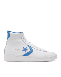 White and Blue Leather High Top Sneakers