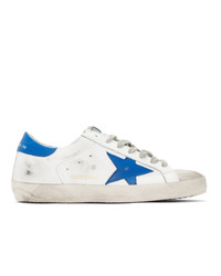 White and Blue Leather Low Top Sneakers