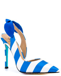 White and Blue Leather Pumps