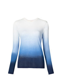 White and Blue Long Sleeve T-shirt