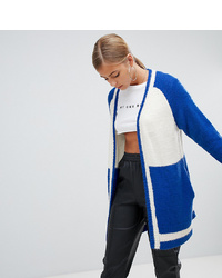 Missguided Colour Block Longline Cardigan In Blue