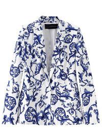 ChicNova Blue And White Porcelain Print Blazer