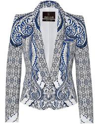 Roberto Cavalli Stretch Cotton Printed Blazer