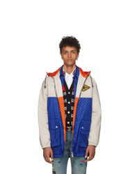 Gucci Blue And Beige Jacquard Gg Hooded Jacket