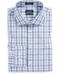 Navy Blazer White and Blue Plaid Dress Shirt